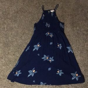 Navy blue, yellow flowered Mossimo dress